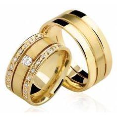 Alianças de Ouro Trieto com Diamantes
