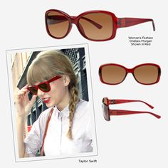 679d49da40 Taylor s girly-sweet style is incomplete without her retro red sunglasses.  Whether you