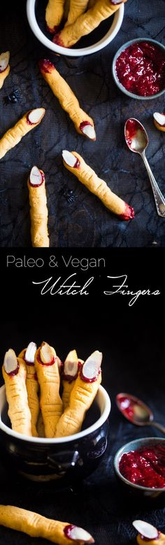 Vegan & Paleo Witch Finger Cookies - The classic, spooky Halloween cookie get a healthy, gluten free, paleo AND vegan makeover! They're easy to make and always a hit at parties!
