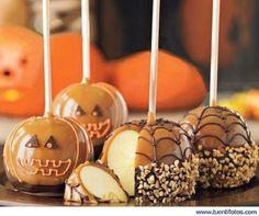 Dulces de Halloween: manzana de chocolate con forma de calabaza