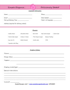 cake order form - Google Search | Decorating/Baking Tips | Pinterest ...