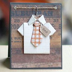 card for men shirt tie hanger masculine male job work clothes Cute idea