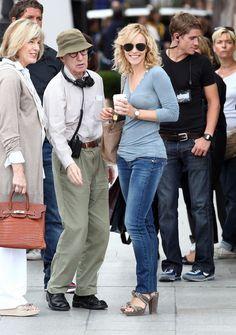 "Rachel McAdams drinking tea on the set of ""Midnight in Paris"" while Woody Allen directs. #celebrities #tea"