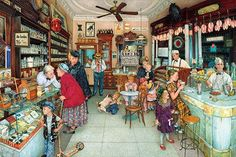 Soda Fountain is a 1000 piece jigsaw puzzle. Featuring artwork by Susan Brabeau. Puzzle measures 19 x when complete. Sunsout puzzles are Eco-friendly soy-based inks Recycled boards. Norman Rockwell, Vintage Images, Vintage Art, Vintage Paintings, Vintage Soul, Art Paintings, Vintage Prints, Sunsout Puzzles, Puzzle Art