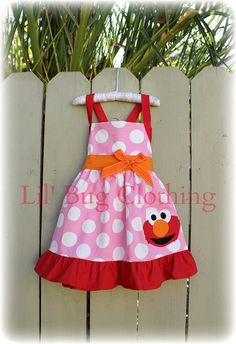 Elmo Sesame Street Birthday Girl Jumper Dress  Pink Red  Orange