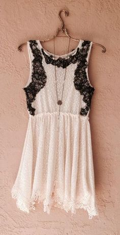 Free People Lace black and white bohemian romantic mini dress