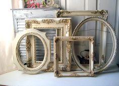Large Antique Cream and Gold Vintage Ornate by WillowsEndCottage