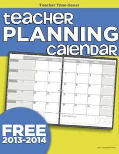 2013-2014 printable calendar for teacher planning - KindergartenWorks