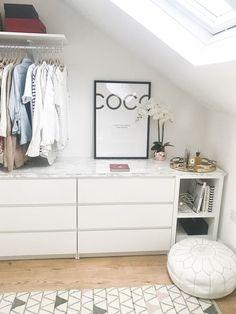 Walk in wardrobe / cabinet DIY IKEA Malm Kallax Hack with marble top, .- Walk in Kleiderschrank / Schrank DIY IKEA Malm Kallax Hack mit Marmorplatte, Walk in wardrobe / cabinet DIY IKEA Malm Kallax … - Walk In Closet Ikea, Ikea Closet Hack, Closet Hacks, Closet Bedroom, Bedroom Decor, Closet Ideas, Attic Closet, Bathroom Closet, Bedroom Ideas