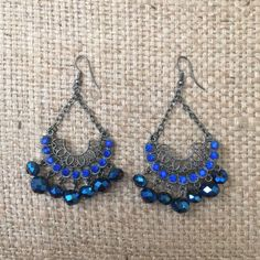 Earrings #10 Earrings with blue stones and beads. Bundle with other items in my closet for a discount!! Jewelry Earrings