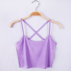 Lilac purple Tank Crop Tops Casual Style Bustier Crop Top Strap Cross  Summer Short Tees