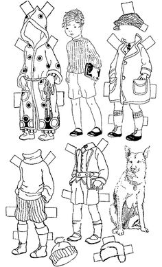 February 1924 CHARLIE CLOG Paper Doll from the BETTY CUT-OUT Series. Charlie has a pet dog.