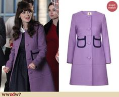 Zooey Deschanel's purple coat with pockets on New Girl. Outfit Details: http://wwzdw.com/z/4768
