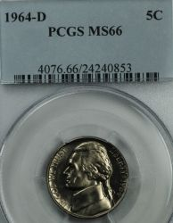 $125.00 1964-D Jefferson Nickel PCGS MS66