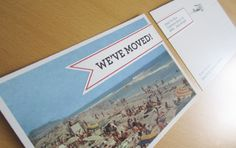 adhesive wrap on an announcement postcard