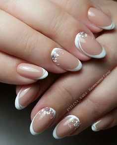 We all love beautiful nail art designs. Ladies, nails are an extension of what they wear, and fresh nail art . French Nail Designs, White Nail Designs, Nail Art Designs, Bridal Nails Designs, Bridal Nail Art, Elegant Nails, Stylish Nails, Bride Nails, Wedding Nails