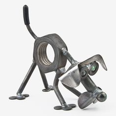 Handcrafted in Kentucky, this adorable Baby Nuts the Dog Sniffing is made using scrap and reject metal, and features colored glass marble eyes. These quintessentially cute critters make the ultimate g Metal Yard Art, Metal Tree Wall Art, Scrap Metal Art, Metal Artwork, Metal Art Projects, Welding Projects, Metal Crafts, Welding Ideas, Sculpture Metal