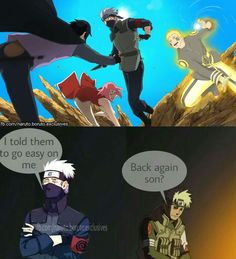 Haha Kakashi is no match for Team 7 now Naruto, Sasuke and Sakura didn't go easy on him ❤️❤️❤️