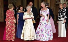 Queen Elizabeth II with (from left) Queen Beatrix of the Netherlands, Queen Sonja and King Harald V of Norway, Queen Margrethe of Denmark and Queen Sofia of Spain at a Golden Jubilee dinner in 2002 Photo: PA/Fiona Hanson