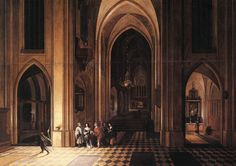 Interior of a Church by Pieter Neefs I (circa 1578 – after 1656) Oil on Copper Flemish Baroque Painter