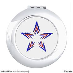 red and blue star compact mirror