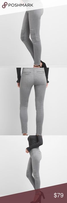 "NWT Gap Midrise Moto Skinny Jeans in Gray 31R Mid Rise Moto True Skinny Jeans 31 Regular Mid rise. Slim through the hip and thigh. Skinny leg opening. Inseam: regular 29"" Waist 16"" Contoured waist. Order true to your size. Should fit SNUG to hold you in. Contours and supports. Keeps its shape (and yours) all day. Premium 1969 Sculpt denim. Grey wash with subtle fading Button closure, zip fly Back welt pockets Ribbing at knee panels Seamed detailing 88% Cotton, 9% Elasterrell, 3% Elastane…"