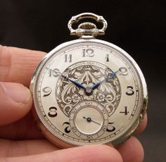 20s Antique GRUEN Veri-Thin V7 17J 12s SWISS ART DECO POCKET WATCH 14K WHITE GF Love the details! And the back!