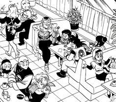 Goku, Chichi, Gohan, Piccolo, Krillin, Roshi, Bulma, Puar, Chiaotzu, Tien, and Launch