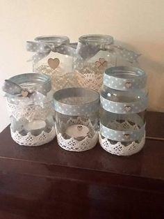 Porta trecos Mason Jars, Bottles And Jars, Glass Jars, Candle Jars, Jam Jar Crafts, Bottle Crafts, Creation Deco, Altered Bottles, Decorated Jars