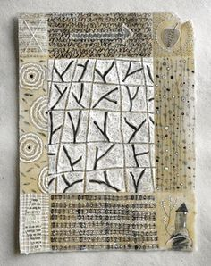 Notes From The Ancestors no.5 by Patti Roberts-Pizzuto - pencil, ink, rubber  stamping, collage, handstitching, beeswax on handmade paper 2012