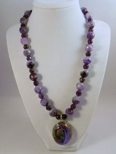Druzy Amethyst Gemstone Necklace Sterling Silver by EVRCreations, $199.00