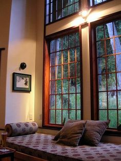 Two story windows, with a view of the forest <3