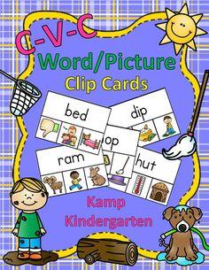 CVC Word/Picture Clip Cards  $    #CVCWords  #Phonics  #ShortVowels  #KampKindergarten  #LiteracyCenters http://www.teacherspayteachers.com/Product/CVC-WordPicture-Clip-Cards-1639394