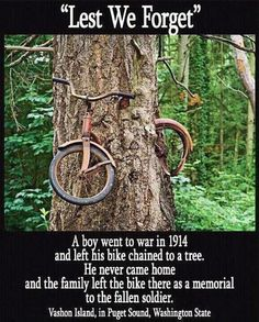 TheBERRY: A boy went to war in 1914 and left his bike chained to a tree. He never came home and the family left the bike there as a memorial to the fallen soldier. Vashon Island, in Puget Sound, Washington State. Sweet Stories, Cute Stories, Awesome Stories, Vashon Island, Whidbey Island, Faith In Humanity Restored, Lest We Forget, Don't Forget, Abandoned Places