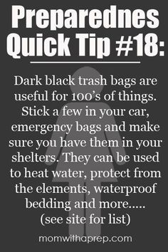 A list of how you can use trash bags in your emergency preparedness  |  Mom with a Prep