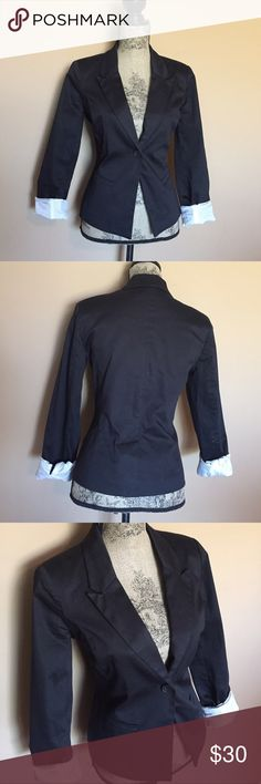 """Black  Blazer Blazer is in perfect condition, like new. Chest 36"""" length 23"""" sleeves 24"""". Cotton , spandex combination. Fabric has some shine to it. You can bundle for a 20% discount. PRICE IS FIRM ty Metaphor Jackets & Coats Blazers"""