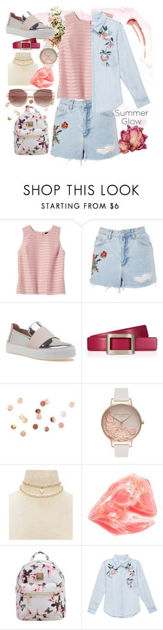 """""""Summer outfit"""" by aletraghetti on Polyvore featuring moda, Banana Republic, Topshop, Stuart Weitzman, Roger Vivier, Umbra, Olivia Burton, Forever 21, SoapRocks y WithChic"""