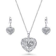 BERRICLE Sterling Silver Filigree Flower Heart Fashion Necklace and... (190 RON) ❤ liked on Polyvore featuring jewelry, sets, women's accessories, chain pendant necklace, heart pendant necklace, sterling silver pendant necklace, sterling silver pendants and sterling silver jewellery