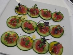 #Tuna #Tartar on #Cucumbers and #Greens #horsdoeuvres #perfectpearcatering #savory #appetizer #event #catering #theperfectpearcateringco #pearfection #chef #jaxbeach #florida #foodie #pros #delight
