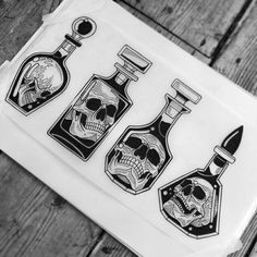 Skull decanters available (left middle taken) Skull Tattoos, Black Tattoos, Body Art Tattoos, Sleeve Tattoos, Cool Tattoos, Tattoos For Guys, Tattoo Sketches, Tattoo Drawings, Art Sketches