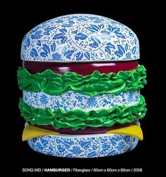 Porcelain Burguer by Song Wei Delft, Kitsch, Chinoiserie, Shanghai, Pop Art, Charles Perrault, Chinese Art, Chinese China, Chinese Style