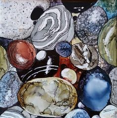"""Pebbles  alcohol ink on 6"""" tile  By Jewel Buhay"""