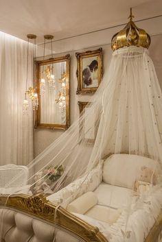 ~ Living a Beautiful Life ~ Baby nursery ~ Princess Room By Myrna Porcaro Baby Bedroom, Baby Room Decor, Nursery Room, Girl Nursery, Girls Bedroom, Royal Nursery, Nursery Themes, Bedroom Ideas, Nursery Ideas