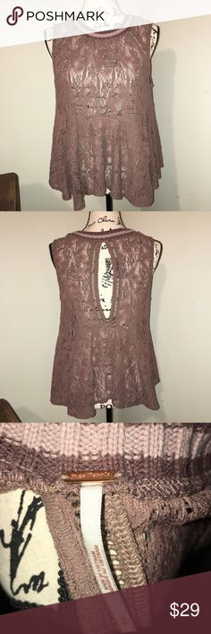 Free People Lacy Peplum Top keyhole back Small Free People Lacy Peplum Top keyhole back Small, color is mauve/lavender. Knitted crew neck with lacy bottom. Free People Tops Blouses