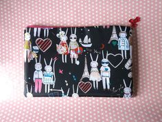 This is perfect for lip gloss, pencils, and all your necessities!  Fifi Lapin rabbit Zipper Pouch / Bag by EmmaMount on Etsy, $18.50