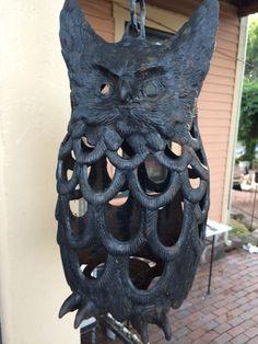 Antique Original Cast Iron Owl // Candle Lantern by PaintedLadyAntiques on Etsy
