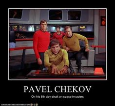 Go, Chekky, go! Star Trek Tv Series, Star Trek Original Series, Star Wars, Star Trek Tos, Star Trek Chekov, Star Trek Characters, Starship Enterprise, William Shatner, The Final Frontier
