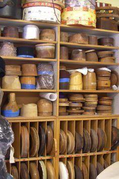 Wonderful collection of hat blocks. Great Storage idea for brim blocks !