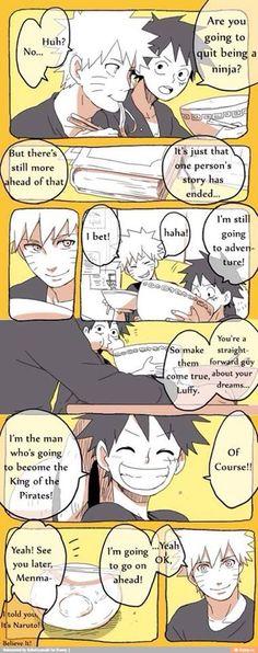 Naruto talking to Luffy