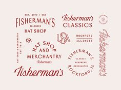 Fisherman's Hat Shop - Brand, Logo and Typography Design Inspiration - Red - Badge - Vintage - Classic